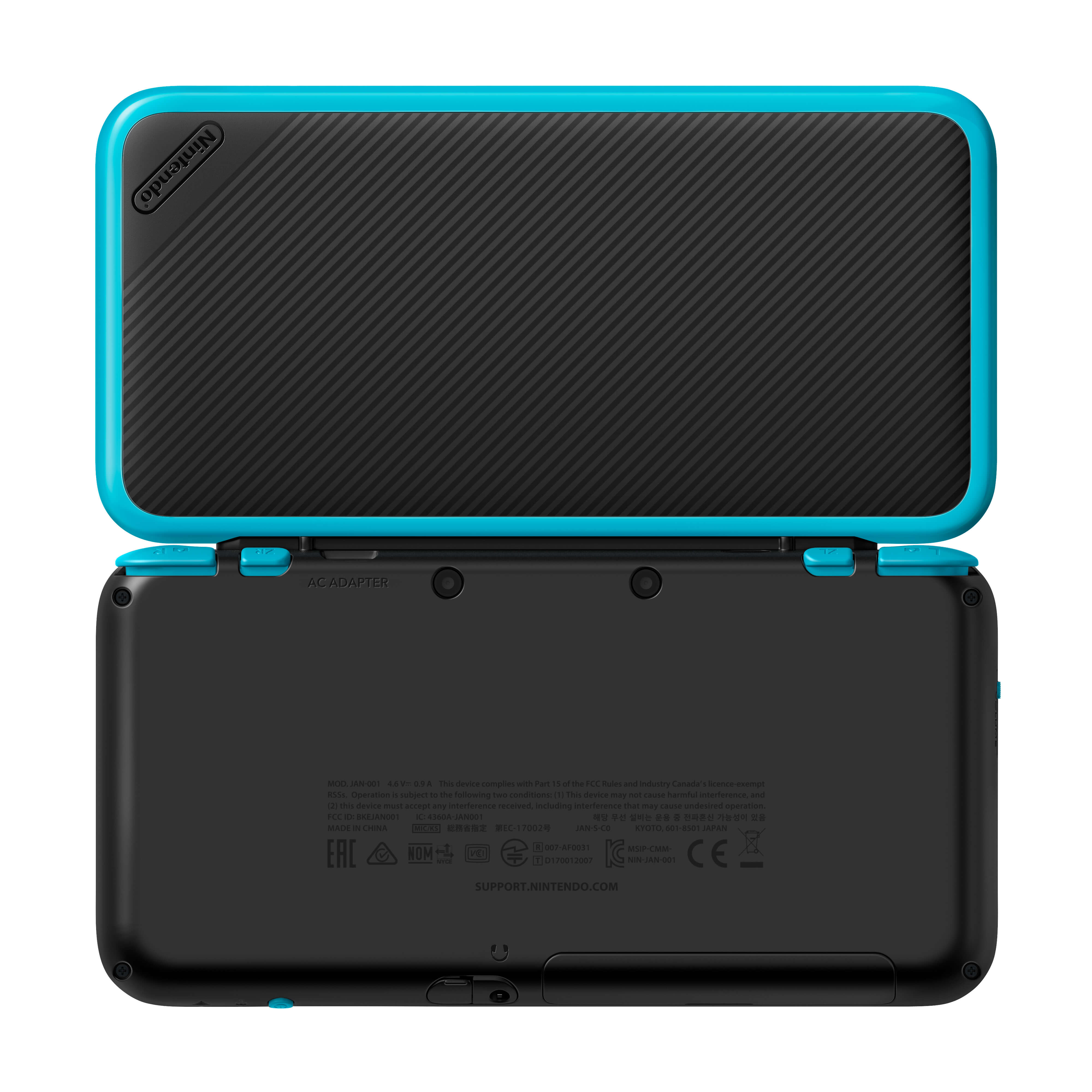 System: New Nintendo 2DS XL Black+Turquoise